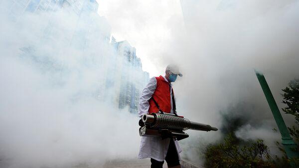 Дезинфекция жилого комплекса в Китае