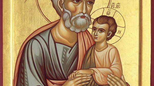 Икона Правденый Иосиф Обручник с Богоматерью