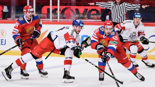 Игровой момент матча Россия - Чехия