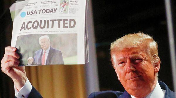 Президент США Дональд Трамп во время пресс-конференции после оправдания по делу об импичменте