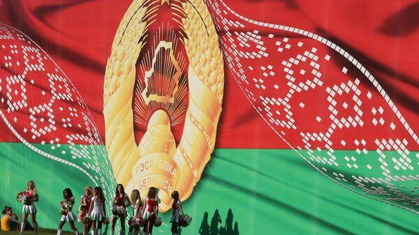 Баннер с гербом Белоруссии в Минске