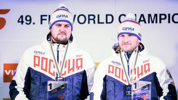 Церемония награждения на чемпионате мира по санному спорту в Сочи