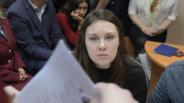 Жительница Петербурга Алла Ильина перед началом заседания Петроградского районного суда. 17 февраля 2020