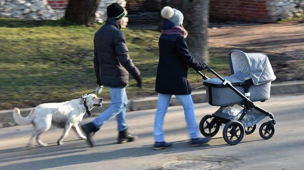 Жители Москвы гуляют по парку
