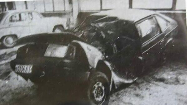 Автомобиль Виктора Цоя после аварии