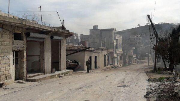 Освобожденный от террористов населенный пункт в провинции Идлиб