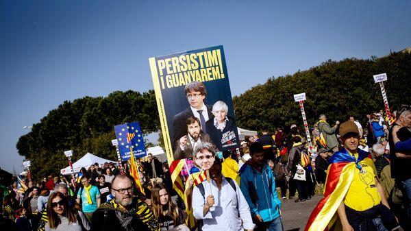 Сторонники независимости Каталонии на митинге в Перпиньяне во Франции
