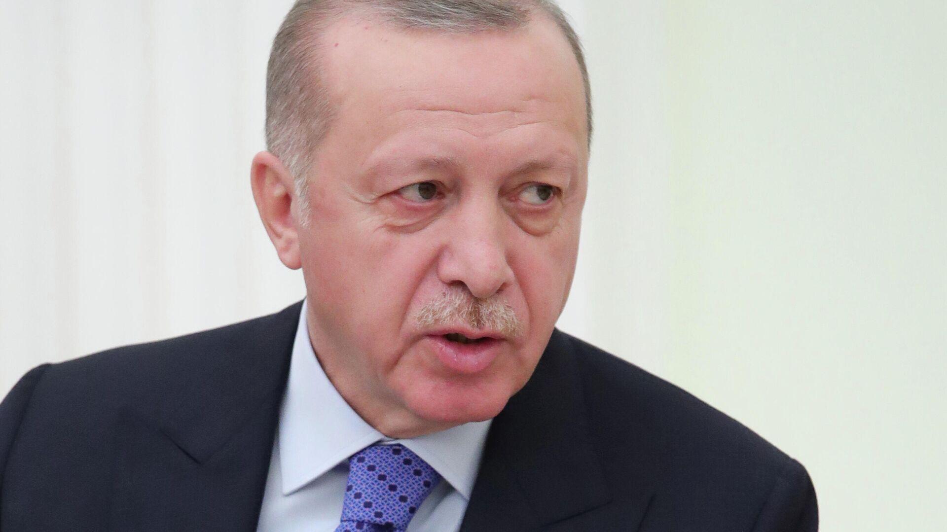 Президент Турции Реджеп Тайип Эрдоган во время встречи с президентом РФ Владимиром Путиным - РИА Новости, 1920, 22.09.2020