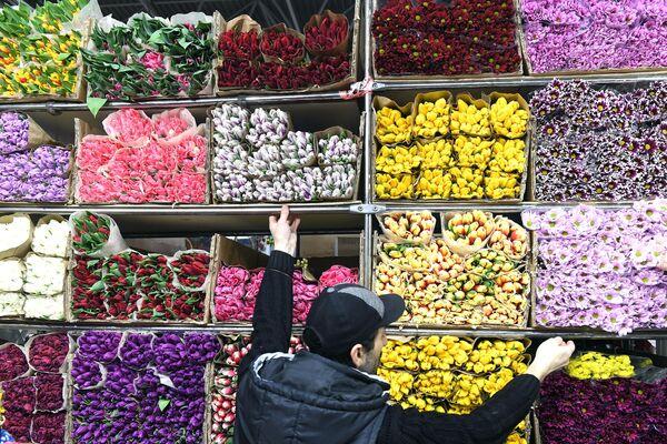 Продажа цветов на Рижском рынке в Москве