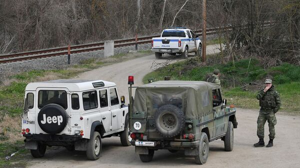 Греческие военные на границе Греции и Турции