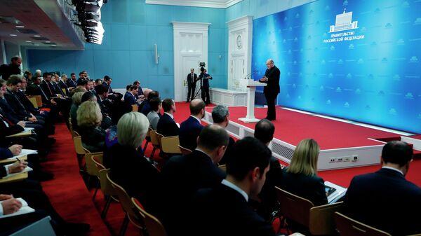 Председатель правительства РФ Михаил Мишустин выступает на встрече с заместителями руководителей федеральных органов исполнительной власти, ответственными за цифровую трансформацию