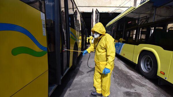 Дезинфекция автобусов на Украине