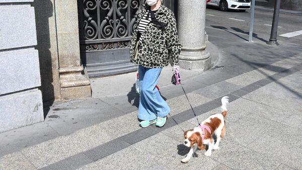 Женщина в защитной маске гуляет с собакой на одной из улиц Мадрида