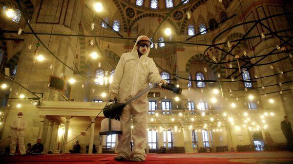 Рабочий в защитном костюме дезинфицирует мечеть Фатих в Стамбуле