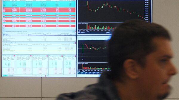 Мониторы с данными котировок на Московской бирже