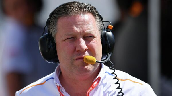 MONTREAL, QUEBEC - JUNE 08: McLaren Chief Executive Officer Zak Brown looks on from the pitwall during qualifying for the F1 Grand Prix of Canada at Circuit Gilles Villeneuve on June 08, 2019 in Montreal, Canada.   Dan Mullan/Getty Images/AFP