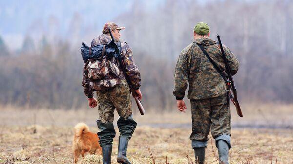 Охотники в лесу