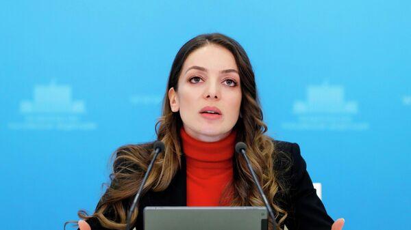 Руководитель федерального агентства по туризму (Ростуризм) Зарина Догузова во время брифинга в Москве