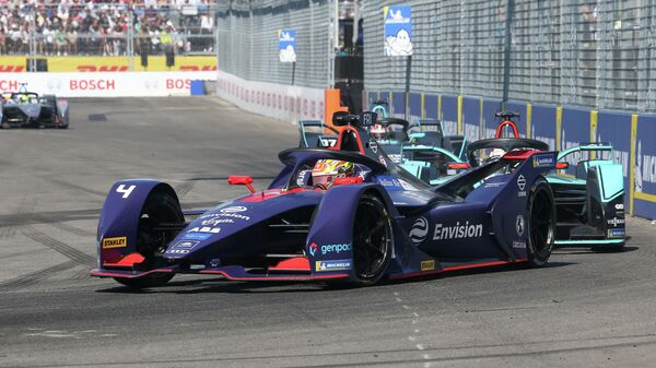 NEW YORK, NEW YORK - JULY 13: The Envision Virgin Racing Team driver Robin Frijns competes during the New York E-Prix of Formula E Season 5 on July 13, 2019 in New York, USA. Cybersecurity giant Kaspersky is Official Sponsor of the Envision Virgin Racing team for the second consecutive year. Both grounded in technological innovation, Kaspersky and Envision Virgin Racing share similar vision and passion in bringing innovation to customers around the world, raising the awareness on this innovative and futuristic all-electric racing series.   Mike Stobe/Getty Images for Kaspersky/AFP