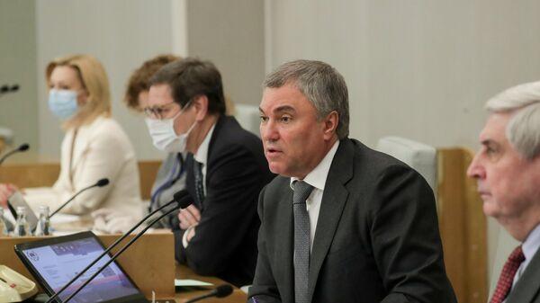 Председатель Государственной Думы РФ Вячеслав Володин на пленарном заседании Государственной Думы РФ
