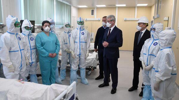 Мэр Москвы Сергей Собянин на открытии инфекционного центра в Новой Москве