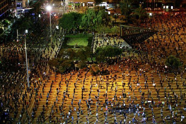 Акция против политики премьер-министра Израиля Биньямина Нетаньяху в Тель-Авиве, Израиль