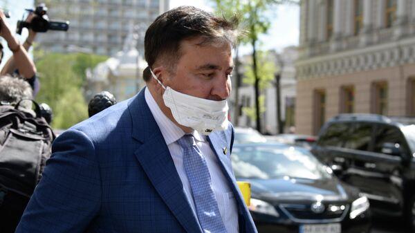 Михаил Саакашвили после встречи с депутатами фракции Слуга народа в Киеве. 24 апреля 2020