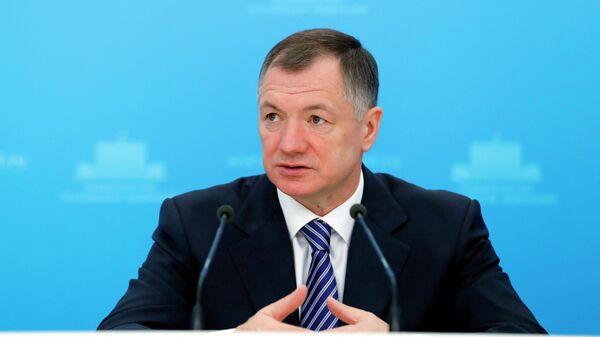 Заместитель председателя правительства РФ Марат Хуснуллин во время брифинга в Доме правительства РФ