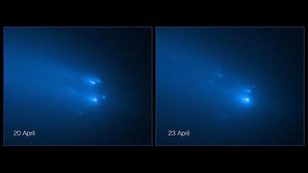 Фото распада кометы  C/2019Y4 (ATLAS), сделанное космическим телескопом Хаббл