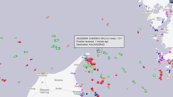 Местоположение судна-трубоукладчика Академик Черский 30 апреля 2020