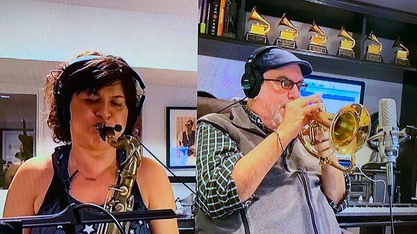 Скриншот выступления Randy Brecker на благотворительном онлайн-марафоне Doctor Jazz Party