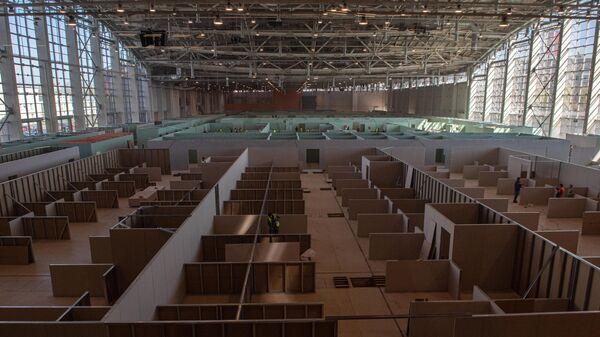 Строительство временного госпиталя для больных с коронавирусной инфекцией в павильоне № 75 на ВДНХ в Москве