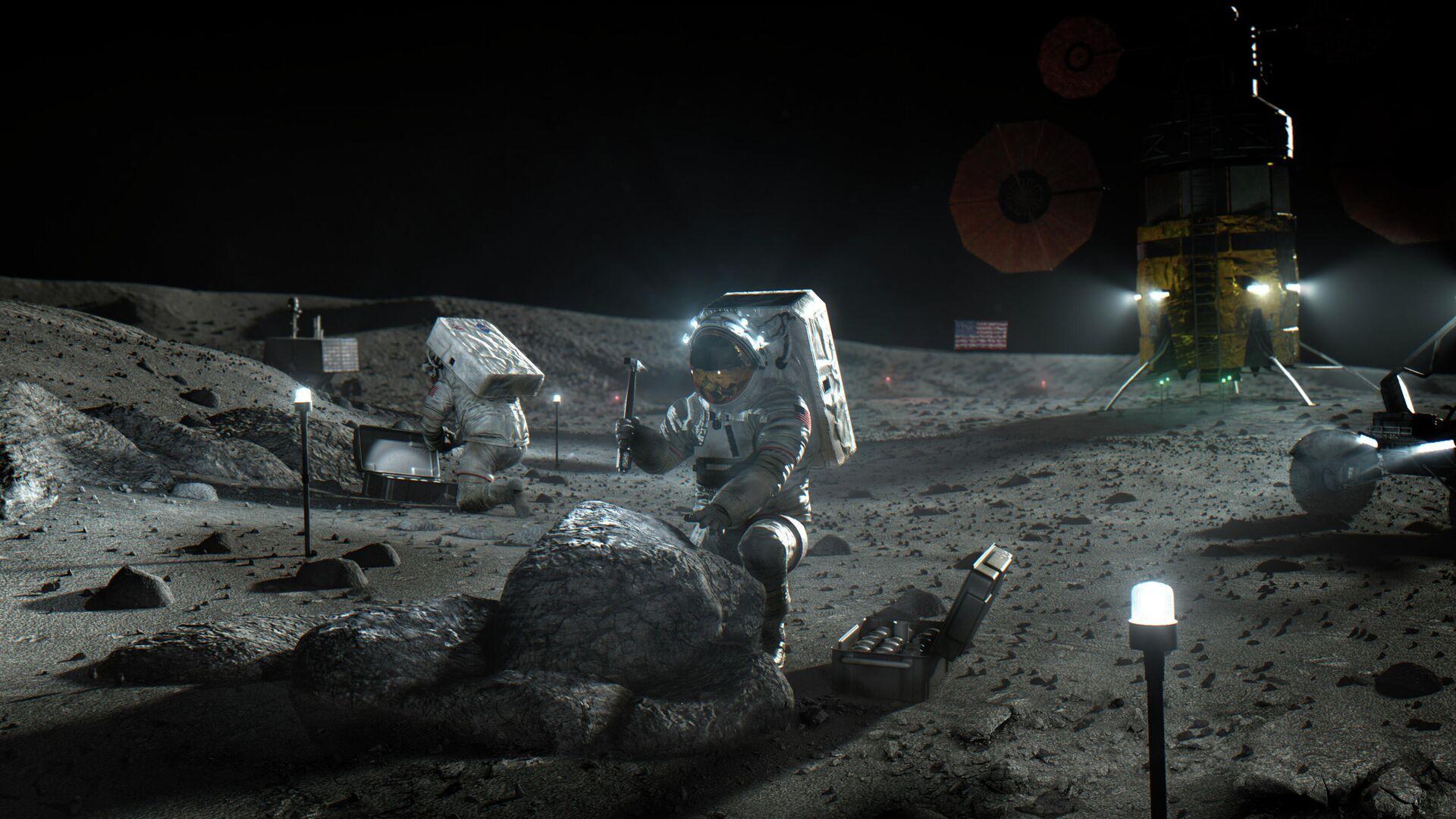 Астронавты космической программы Артемида на Луне в представлении художника - РИА Новости, 1920, 26.10.2020