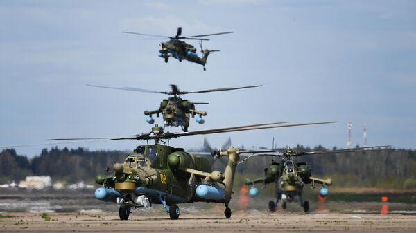 Пилотажная группа Беркуты на вертолетах Ми-28Н Ночной охотник