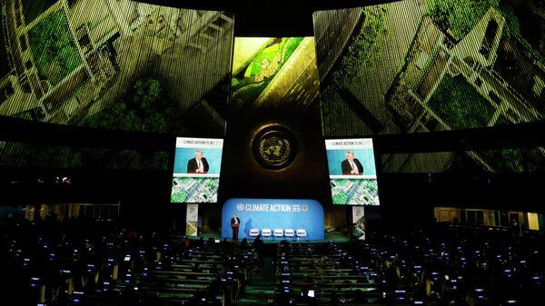 Премьер-министр Великобритании Борис Джонсон во время выступления на Генеральной Ассамблее ООН
