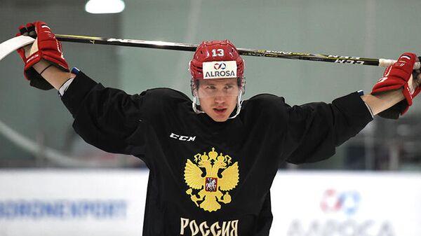 Хоккеист сборной России и Спартака Роман Любимов на тренировке