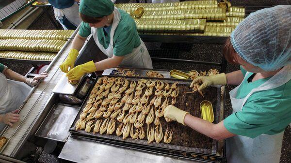 Работницы в цехе по производству консервов из кальмара в Приморском крае