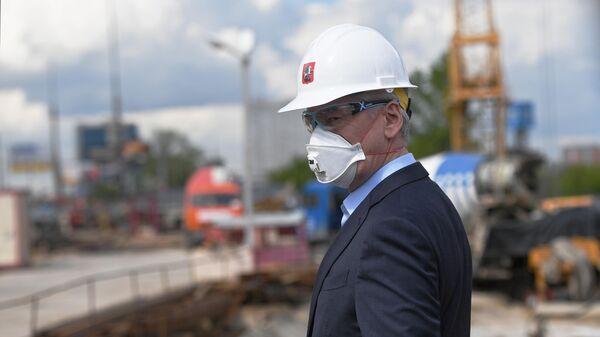 Мэр Москвы Сергей Собянин во время инспектирования строительства станции метро Лианозово