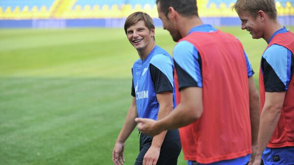 Футболист Андрей Аршавин во время тренировки Зенита в 2013 году. Архивное фото