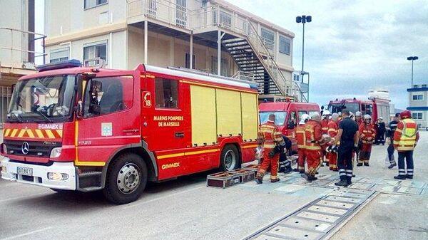 Пожар на подводной лодке в порту города Тулон во Франции