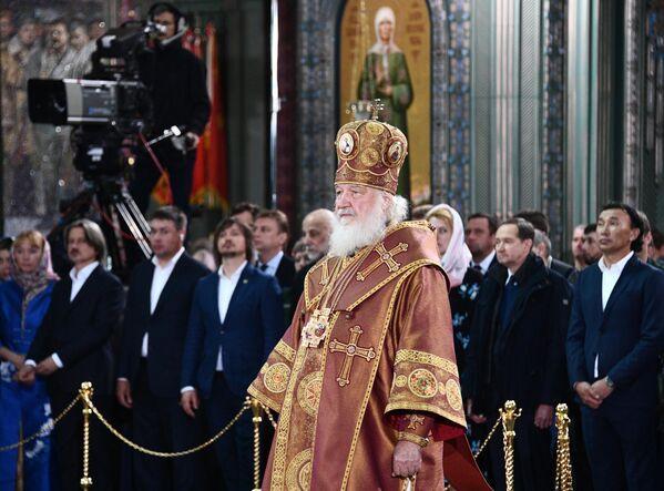 Патриарх Московский и всея Руси Кирилл во время церемонии освящения главного храма Вооруженных сил РФ в парке Патриот в Московской области