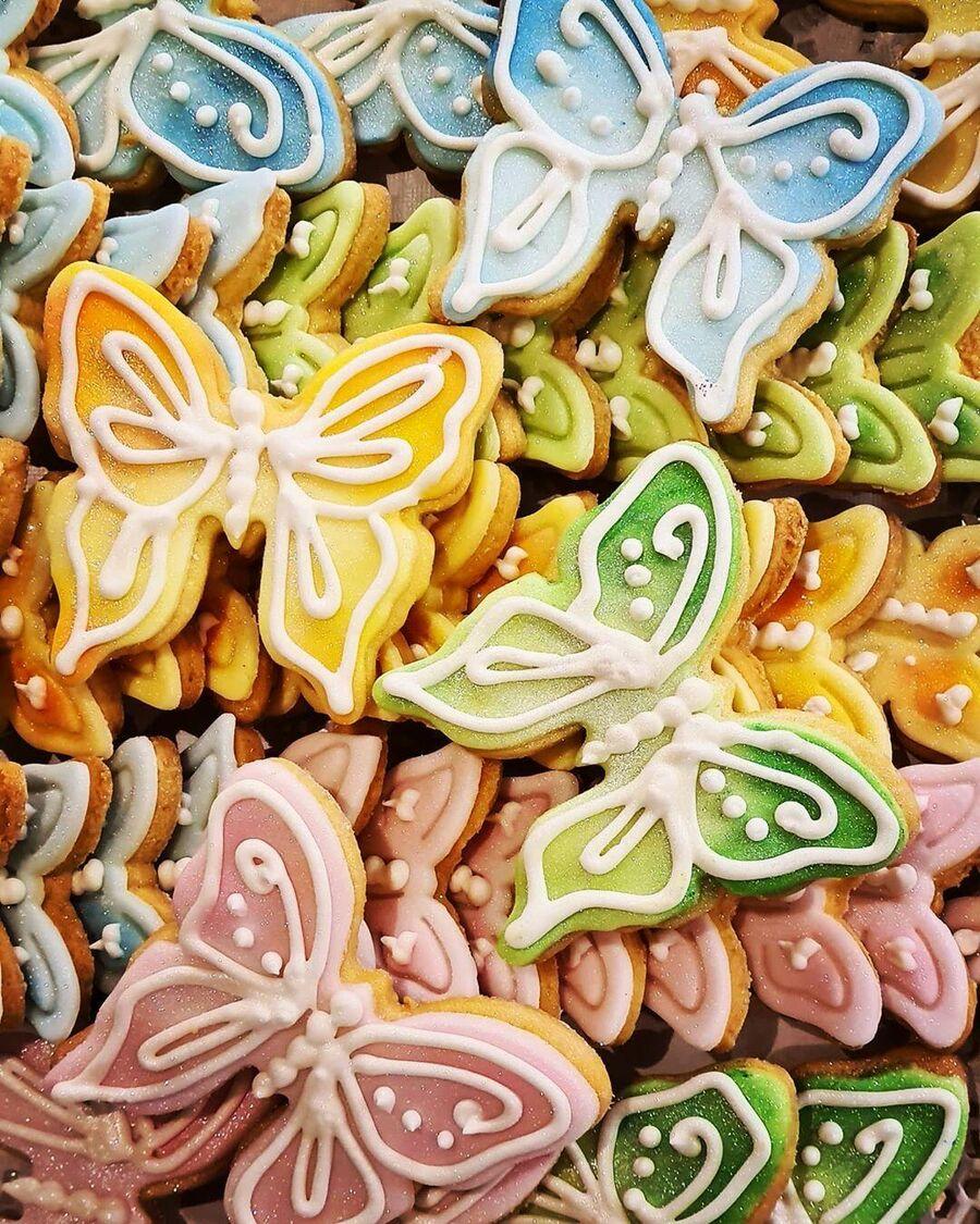 Песочные печенья Бабочки с марципаном