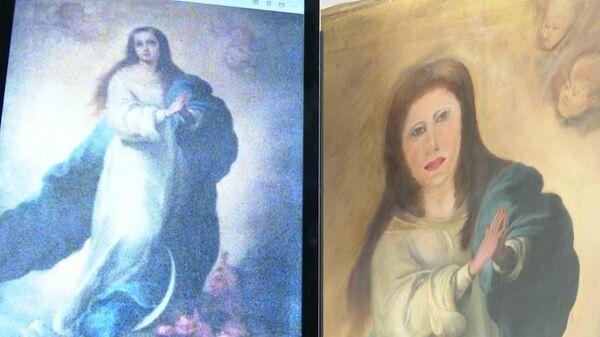 Копия картины Непорочное зачатие испанского живописца Бартоломе Эстебана Мурильо до и после реставрации. Стоп-кадр видео
