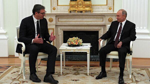 Президент РФ Владимир Путин и президент Сербии Александр Вучич во время встречи