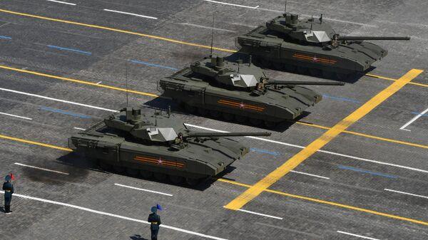 Танки Т-14 Армата во время военного парада в ознаменование 75-летия Победы в Великой Отечественной войне 1941-1945 годов на Красной площади в Москве
