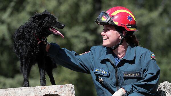 Сотрудник МЧС со служебной собакой во время тренировки в учебно-тренировочном центре в деревне Апаринки