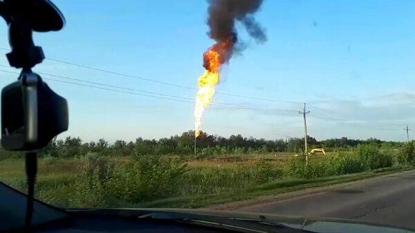 Место прорыва газопровода в Самарской области