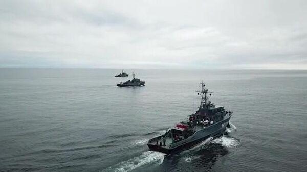Крейсеры ВМФ РФ на учениях в Баренцевом море