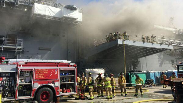 Пожар на универсальном десантном корабле USS Bonhomme Richard (LHD 6) на военно-морской базе Сан-Диего