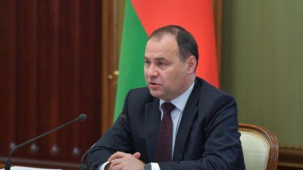 Премьер-министр Республики Беларусь Роман Головченко во время переговоров с председателем правительства РФ Михаилом Мишустиным